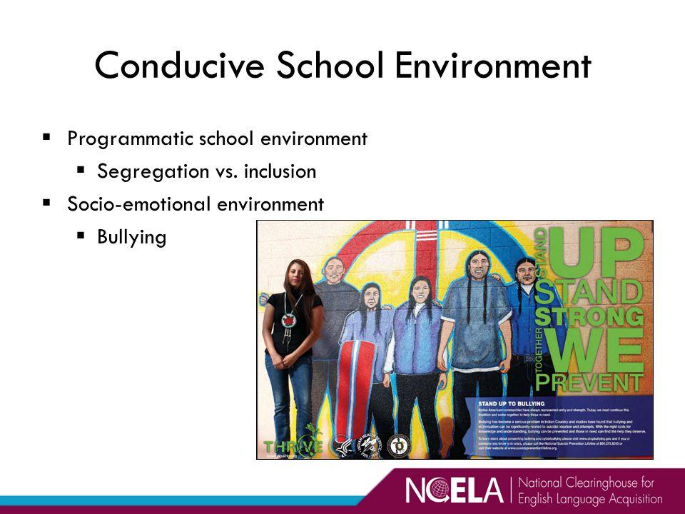 Programmatic school environment  Segregation vs.