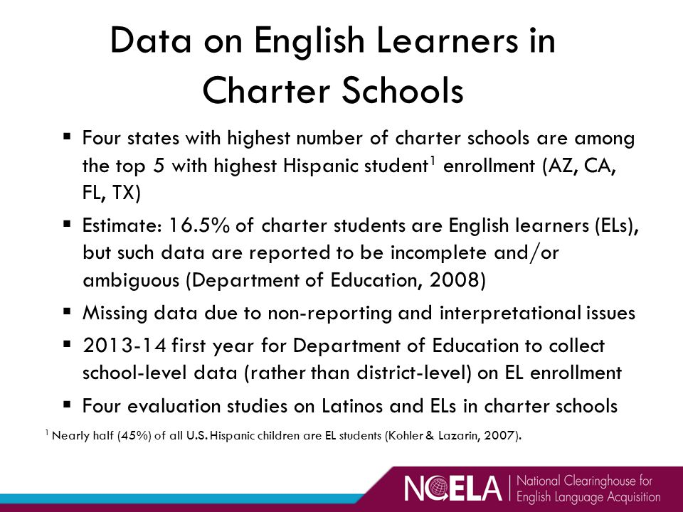 Data on English Learners in Charter Schools  Four states with highest number of charter schools are among the top 5 with highest Hispanic student 1 enrollment (AZ, CA, FL, TX)  Estimate: 16.5% of charter students are English learners (ELs), but such data are reported to be incomplete and/or ambiguous (Department of Education, 2008)  Missing data due to non-reporting and interpretational issues  2013-14 first year for Department of Education to collect school-level data (rather than district-level) on EL enrollment  Four evaluation studies on Latinos and ELs in charter schools 1 Nearly half (45%) of all U.S.