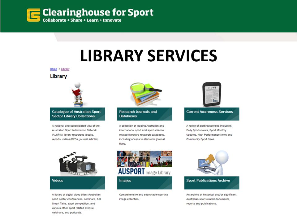 THE CATALOGUE (of Australian Sport Sector Library collections)