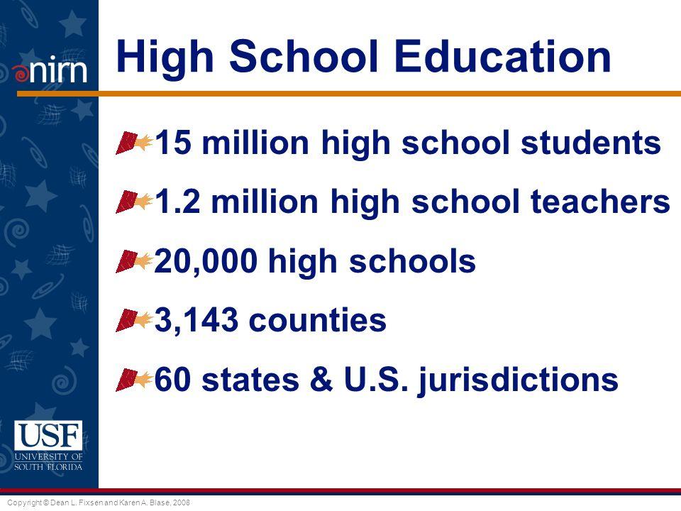 Copyright © Dean L. Fixsen and Karen A. Blase, 2008 High School Education 15 million high school students 1.2 million high school teachers 20,000 high