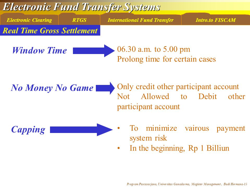 Electronic Fund Transfer Systems Program Pascasarjana, Universitas Gunadarma, Magister Management, Budi Hermana-15 Electronic ClearingRTGSInternational Fund TransferIntro.to FISCAM Window Time No Money No Game Capping 06.30 a.m.