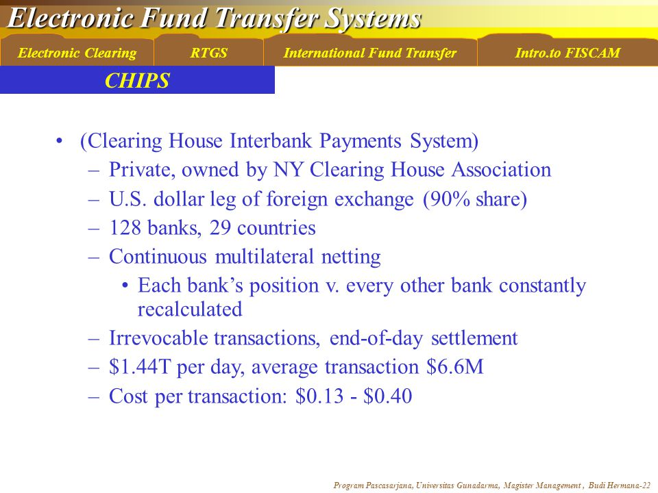 Electronic Fund Transfer Systems Program Pascasarjana, Universitas Gunadarma, Magister Management, Budi Hermana-22 Electronic ClearingRTGSInternational Fund TransferIntro.to FISCAM (Clearing House Interbank Payments System) –Private, owned by NY Clearing House Association –U.S.