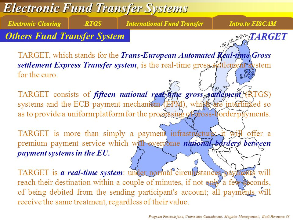Electronic Fund Transfer Systems Program Pascasarjana, Universitas Gunadarma, Magister Management, Budi Hermana-33 Electronic ClearingRTGSInternational Fund TransferIntro.to FISCAM Others Fund Transfer System TARGET, which stands for the Trans-European Automated Real-time Gross settlement Express Transfer system, is the real-time gross settlement system for the euro.