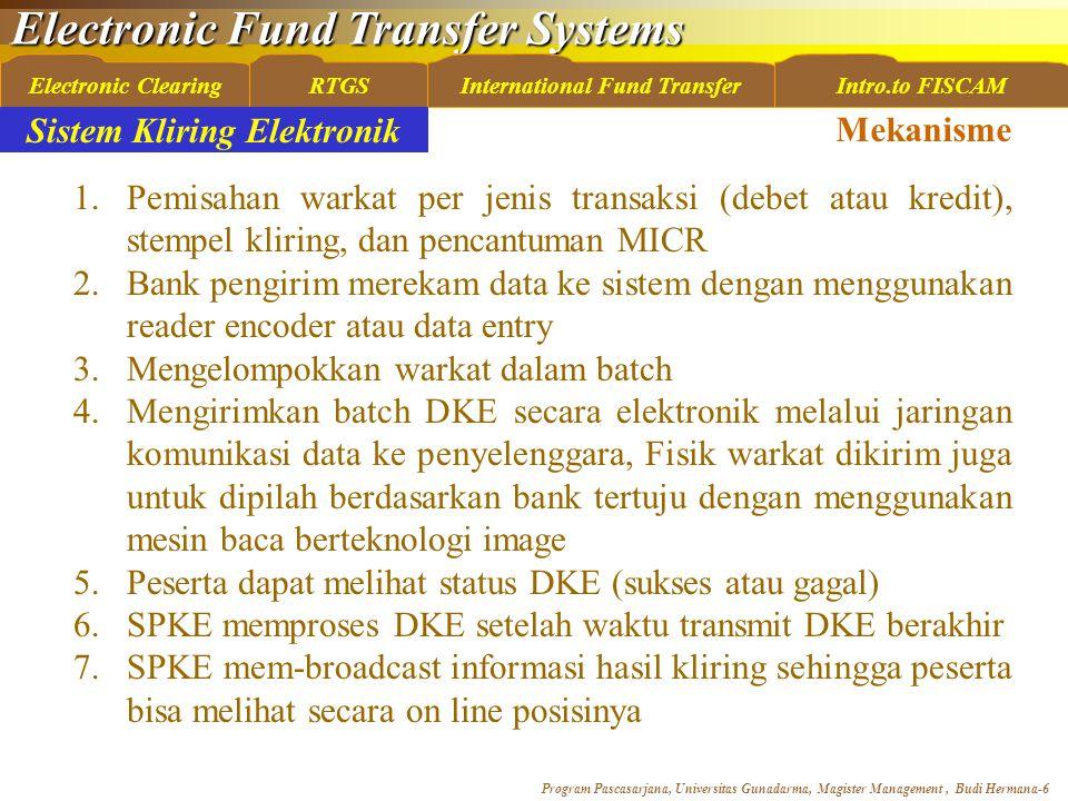 Electronic Fund Transfer Systems Program Pascasarjana, Universitas Gunadarma, Magister Management, Budi Hermana-6 Electronic ClearingRTGSInternational Fund TransferIntro.to FISCAM 1.Pemisahan warkat per jenis transaksi (debet atau kredit), stempel kliring, dan pencantuman MICR 2.Bank pengirim merekam data ke sistem dengan menggunakan reader encoder atau data entry 3.Mengelompokkan warkat dalam batch 4.Mengirimkan batch DKE secara elektronik melalui jaringan komunikasi data ke penyelenggara, Fisik warkat dikirim juga untuk dipilah berdasarkan bank tertuju dengan menggunakan mesin baca berteknologi image 5.Peserta dapat melihat status DKE (sukses atau gagal) 6.SPKE memproses DKE setelah waktu transmit DKE berakhir 7.SPKE mem-broadcast informasi hasil kliring sehingga peserta bisa melihat secara on line posisinya Mekanisme Sistem Kliring Elektronik