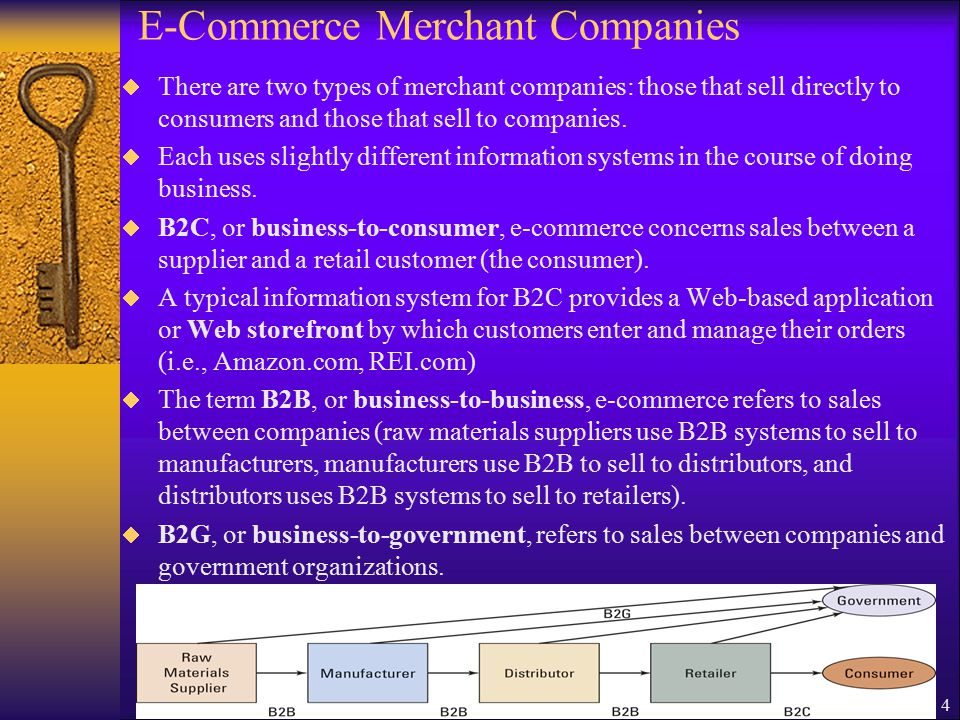 4 E-Commerce Merchant Companies  There are two types of merchant companies: those that sell directly to consumers and those that sell to companies.