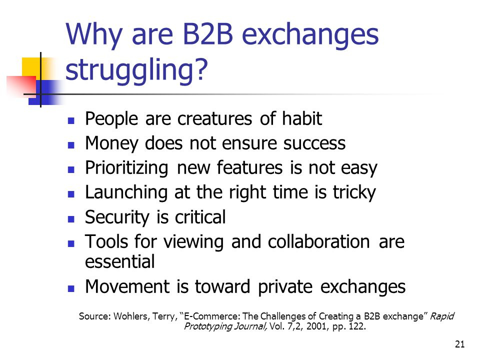 21 Why are B2B exchanges struggling.