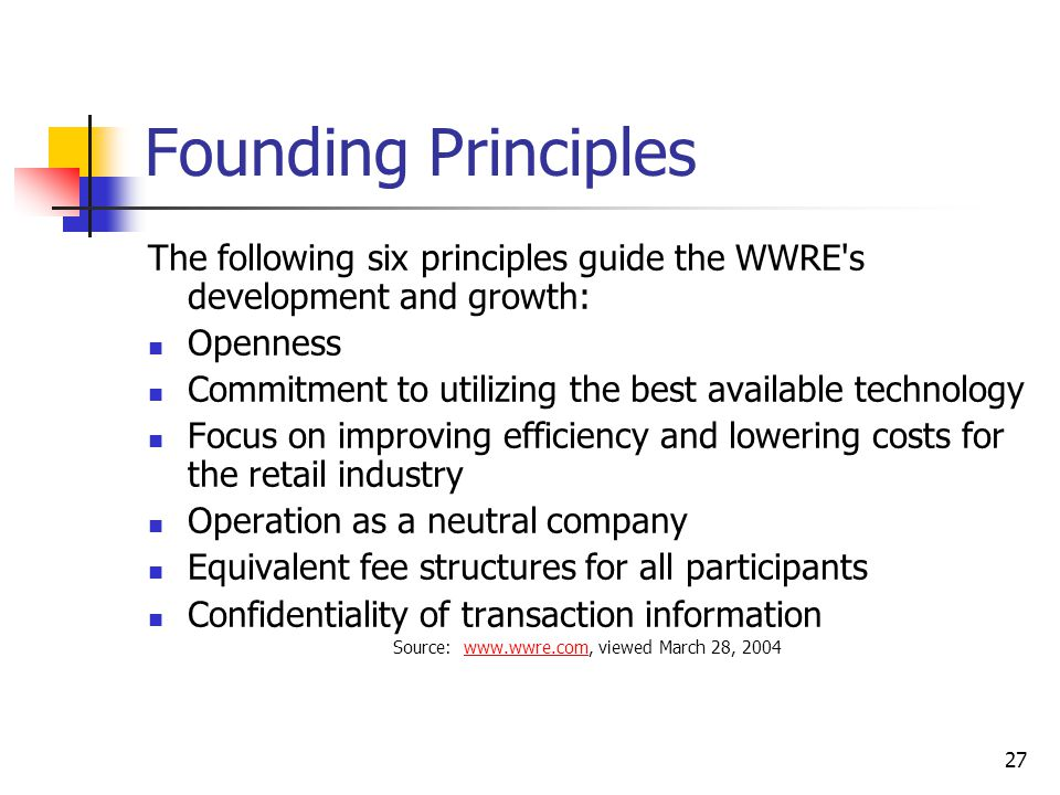 27 Founding Principles The following six principles guide the WWRE s development and growth: Openness Commitment to utilizing the best available technology Focus on improving efficiency and lowering costs for the retail industry Operation as a neutral company Equivalent fee structures for all participants Confidentiality of transaction information Source: www.wwre.com, viewed March 28, 2004www.wwre.com