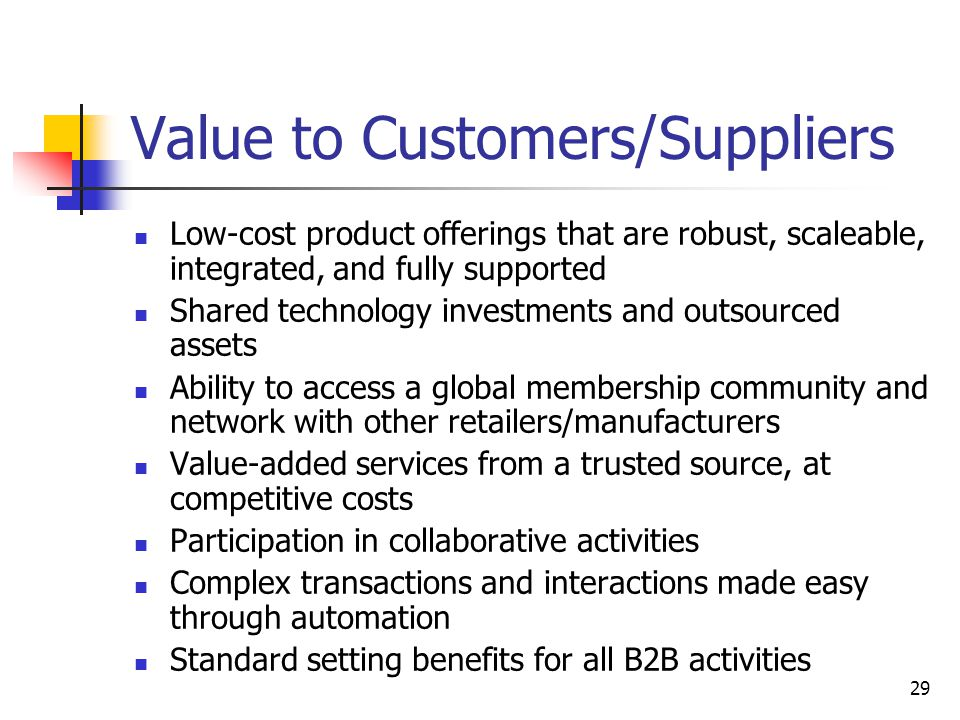 29 Value to Customers/Suppliers Low-cost product offerings that are robust, scaleable, integrated, and fully supported Shared technology investments and outsourced assets Ability to access a global membership community and network with other retailers/manufacturers Value-added services from a trusted source, at competitive costs Participation in collaborative activities Complex transactions and interactions made easy through automation Standard setting benefits for all B2B activities