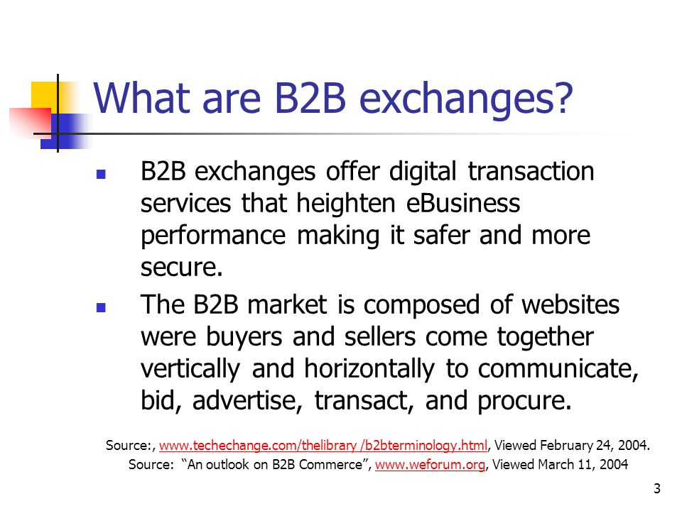 3 What are B2B exchanges.