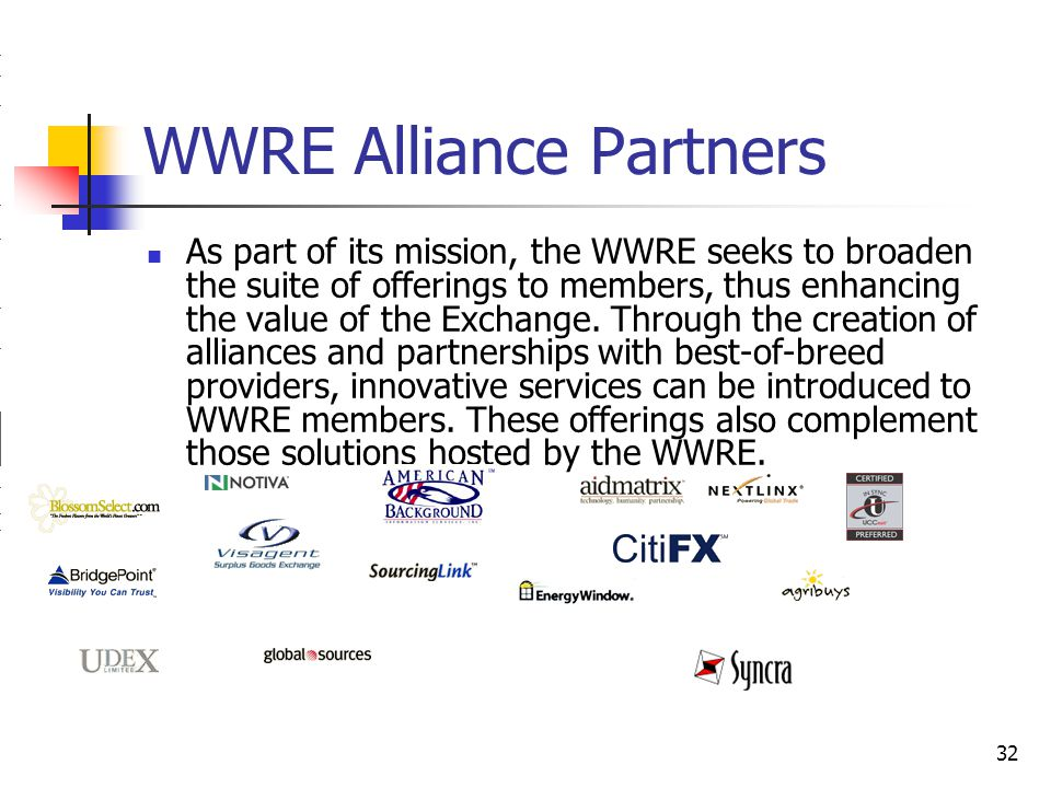 32 WWRE Alliance Partners As part of its mission, the WWRE seeks to broaden the suite of offerings to members, thus enhancing the value of the Exchange.