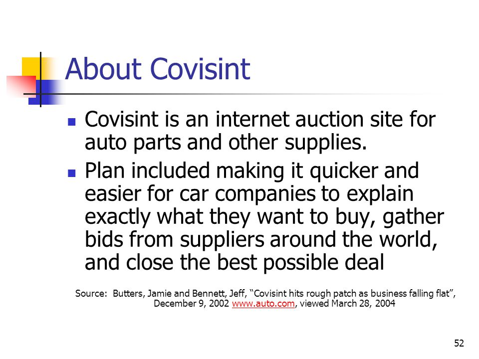 52 About Covisint Covisint is an internet auction site for auto parts and other supplies.
