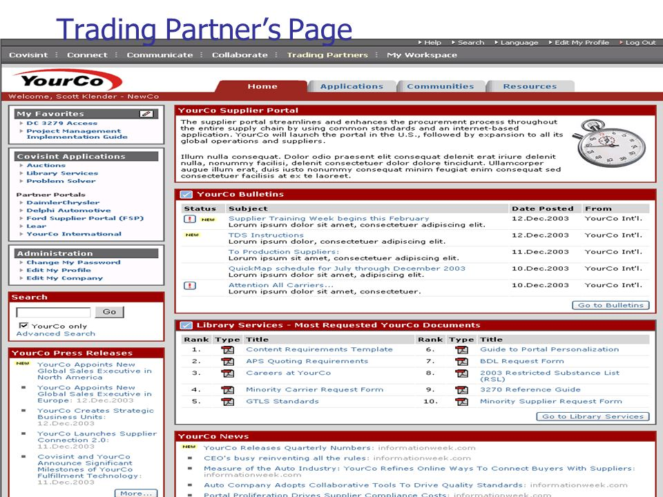 56 Trading Partner's Page