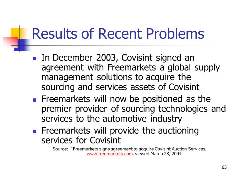 65 Results of Recent Problems In December 2003, Covisint signed an agreement with Freemarkets a global supply management solutions to acquire the sourcing and services assets of Covisint Freemarkets will now be positioned as the premier provider of sourcing technologies and services to the automotive industry Freemarkets will provide the auctioning services for Covisint Source: Freemarkets signs agreement to acquire Covisint Auction Services, www.freemarkets.com, viewed March 28, 2004 www.freemarkets.com