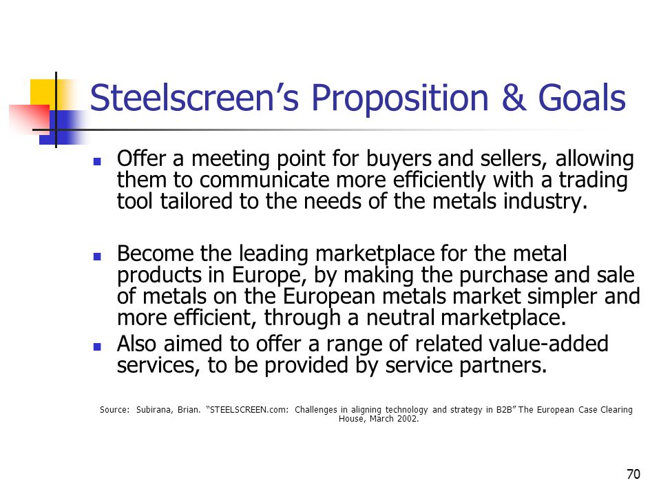 70 Steelscreen's Proposition & Goals Offer a meeting point for buyers and sellers, allowing them to communicate more efficiently with a trading tool tailored to the needs of the metals industry.