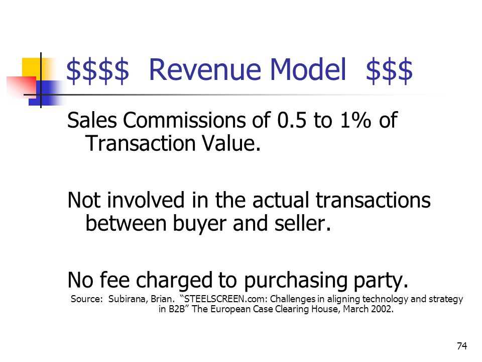 74 $$$$ Revenue Model $$$ Sales Commissions of 0.5 to 1% of Transaction Value.