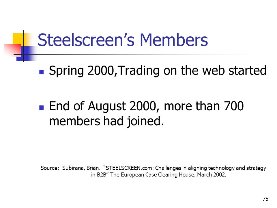 75 Steelscreen's Members Spring 2000,Trading on the web started End of August 2000, more than 700 members had joined.