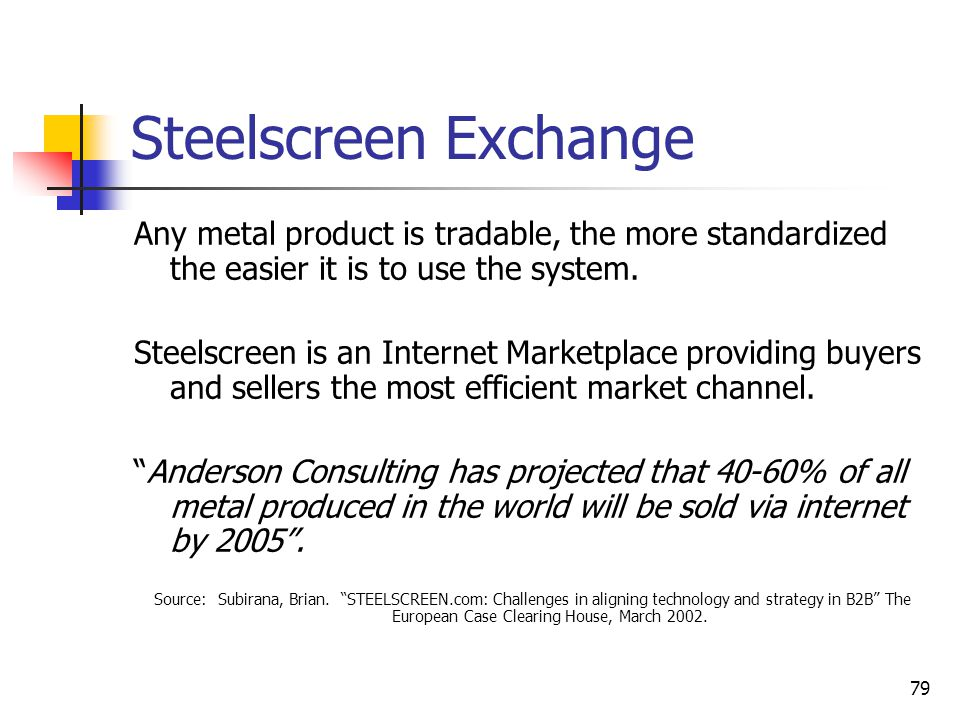 79 Steelscreen Exchange Any metal product is tradable, the more standardized the easier it is to use the system.