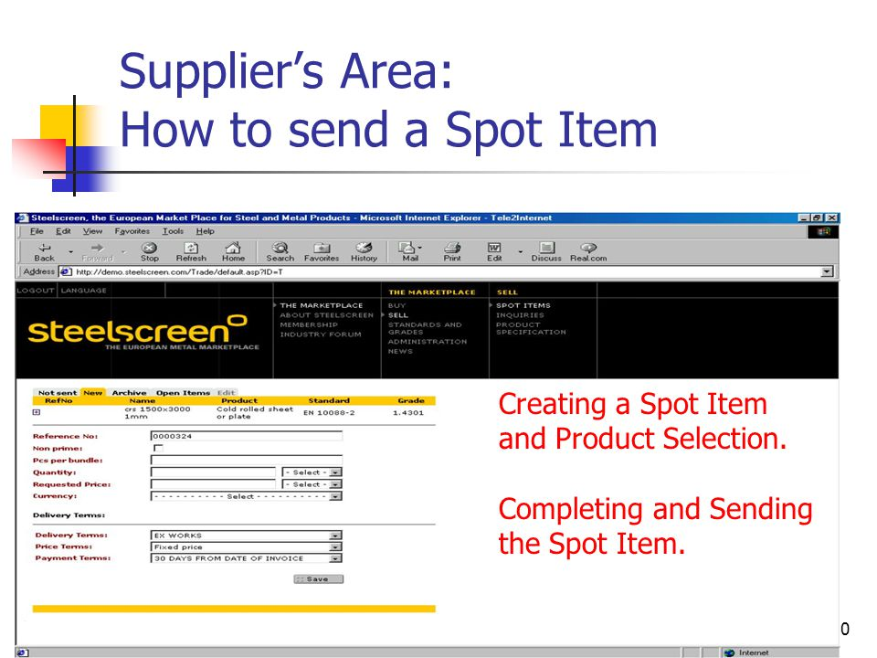 80 Supplier's Area: How to send a Spot Item Creating a Spot Item and Product Selection.