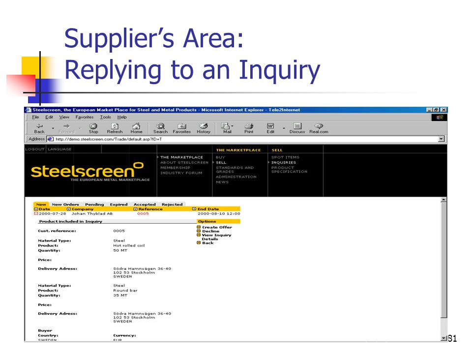 81 Supplier's Area: Replying to an Inquiry