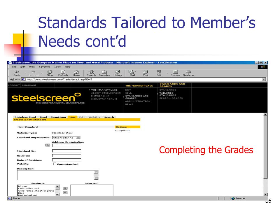 86 Standards Tailored to Member's Needs cont'd Completing the Grades