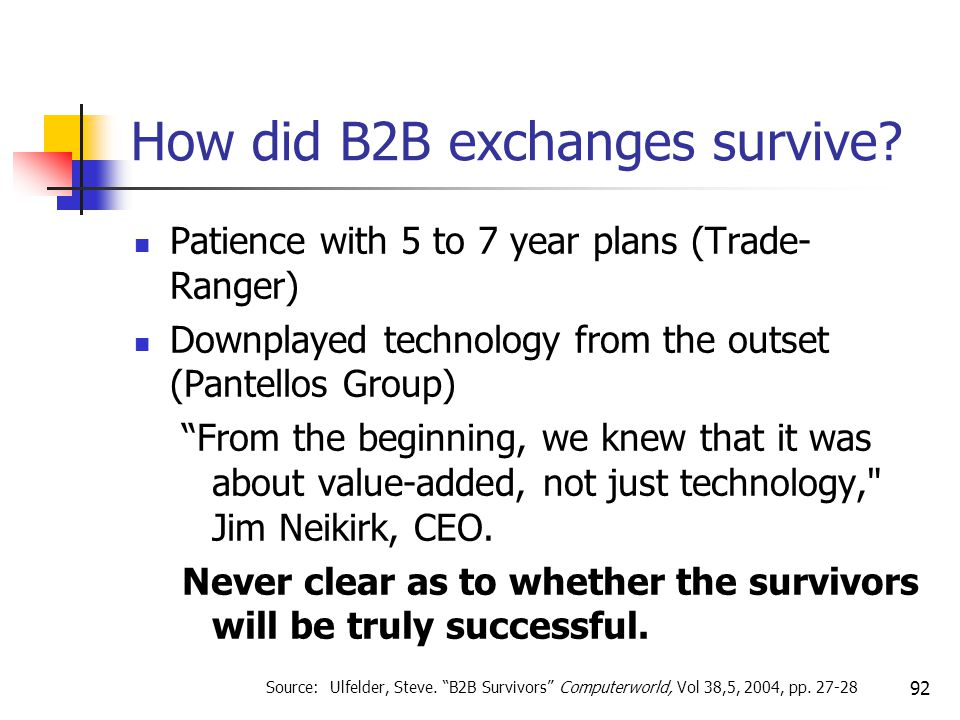 92 How did B2B exchanges survive.