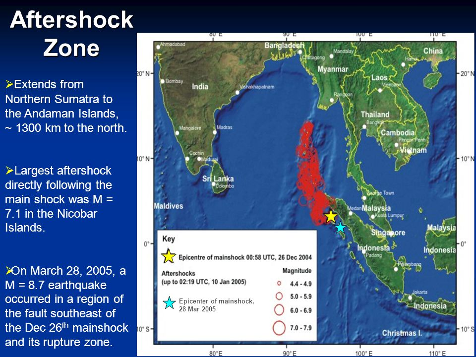Aftershock Zone  Extends from Northern Sumatra to the Andaman Islands, ~ 1300 km to the north.  Largest aftershock directly following the main shock