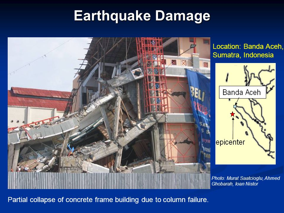 Earthquake Damage Partial collapse of concrete frame building due to column failure.