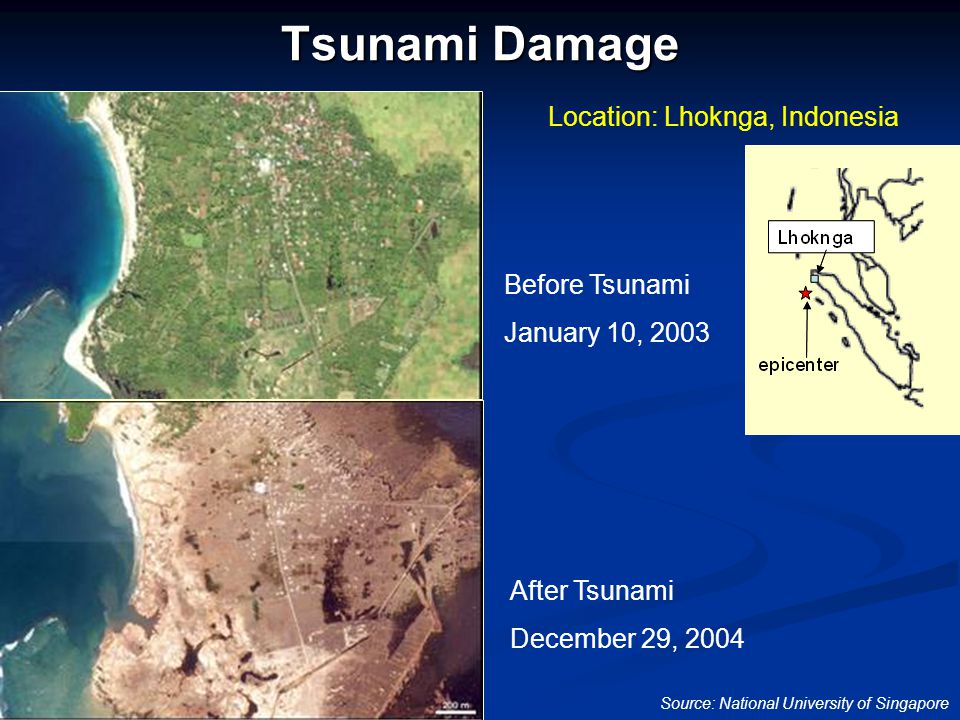 Tsunami Damage Before Tsunami January 10, 2003 After Tsunami December 29, 2004 Source: National University of Singapore Location: Lhoknga, Indonesia