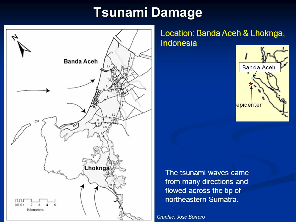 Tsunami Damage Location: Banda Aceh & Lhoknga, Indonesia The tsunami waves came from many directions and flowed across the tip of northeastern Sumatra.