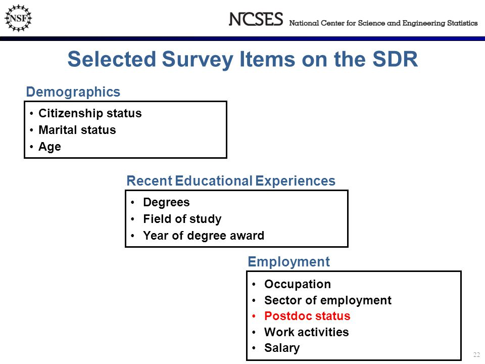 Selected Survey Items on the SDR Citizenship status Marital status Age Demographics Degrees Field of study Year of degree award Recent Educational Experiences Occupation Sector of employment Postdoc status Work activities Salary Employment 22
