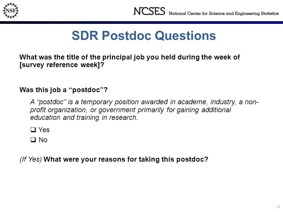 SDR Postdoc Questions What was the title of the principal job you held during the week of [survey reference week].
