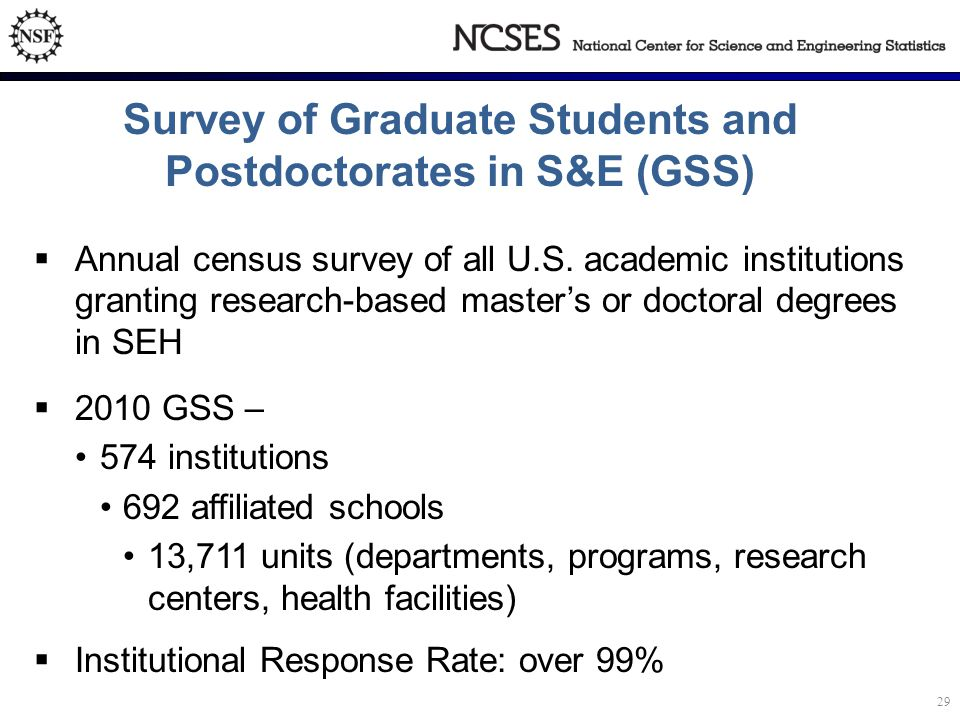 Survey of Graduate Students and Postdoctorates in S&E (GSS)  Annual census survey of all U.S.