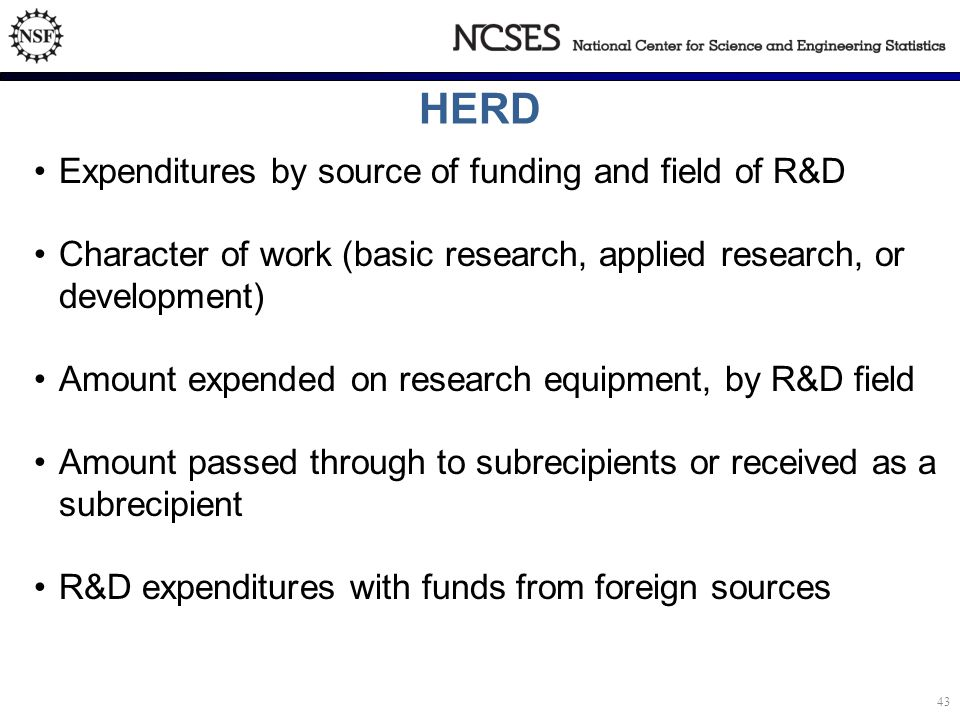 HERD Expenditures by source of funding and field of R&D Character of work (basic research, applied research, or development) Amount expended on research equipment, by R&D field Amount passed through to subrecipients or received as a subrecipient R&D expenditures with funds from foreign sources 43