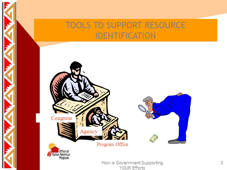 How is Government Supporting YOUR Efforts 3 TOOLS TO SUPPORT RESOURCE IDENTIFICATION Congress Agency Program Office