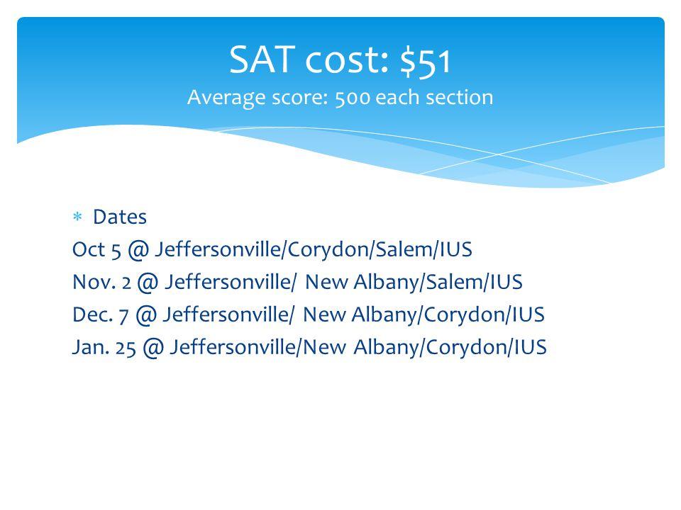  Dates Oct 5 @ Jeffersonville/Corydon/Salem/IUS Nov.