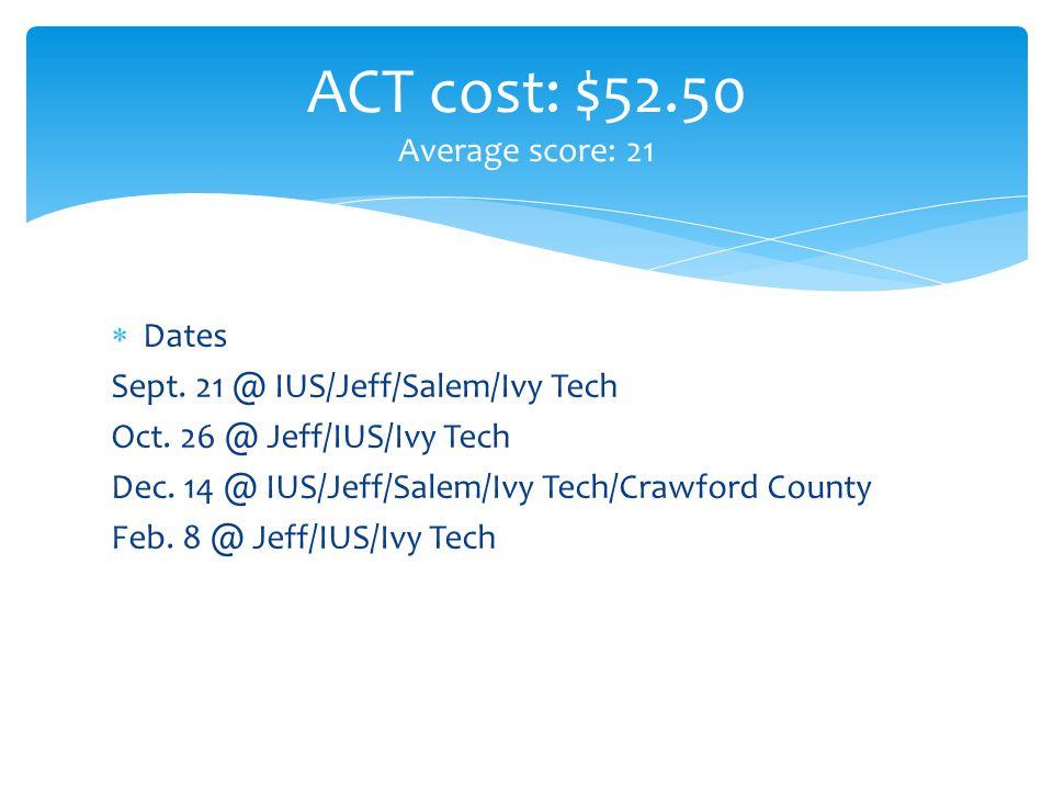  Dates Sept. 21 @ IUS/Jeff/Salem/Ivy Tech Oct. 26 @ Jeff/IUS/Ivy Tech Dec.