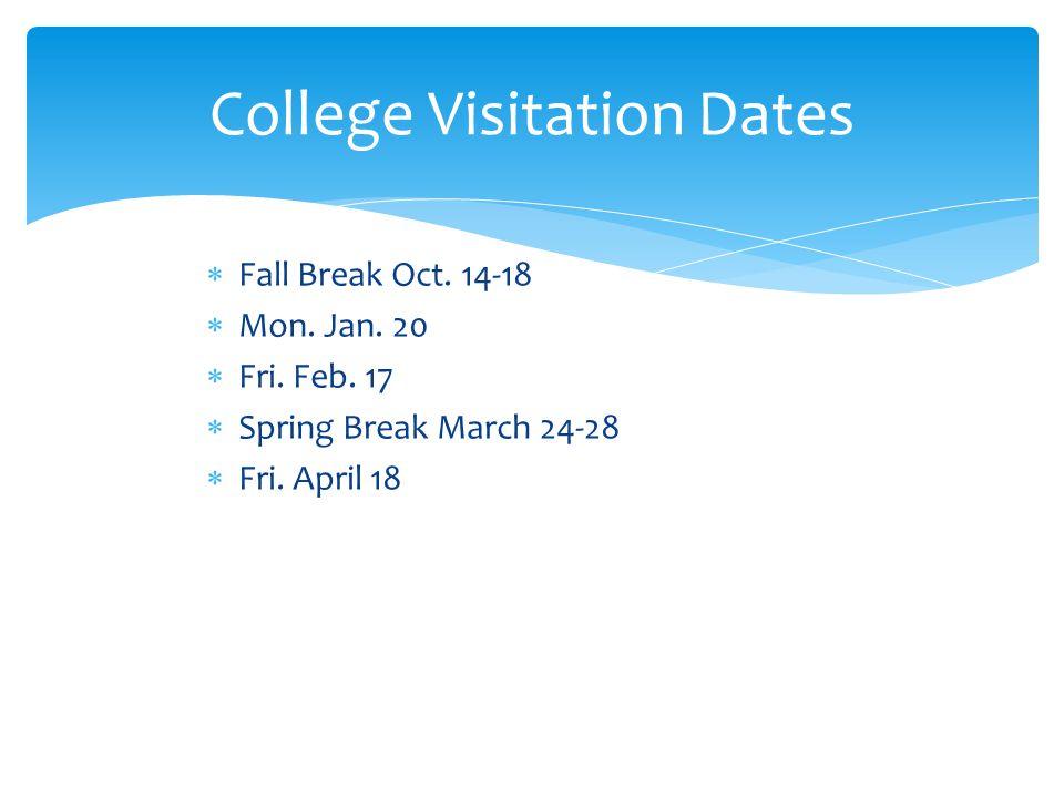  Fall Break Oct. 14-18  Mon. Jan. 20  Fri. Feb.