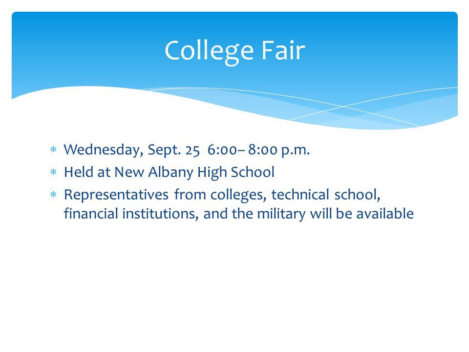 Wednesday, Sept. 25 6:00– 8:00 p.m.