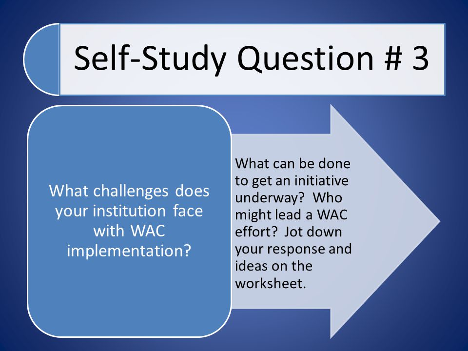Self-Study Question # 3 What can be done to get an initiative underway? Who might lead a WAC effort? Jot down your response and ideas on the worksheet