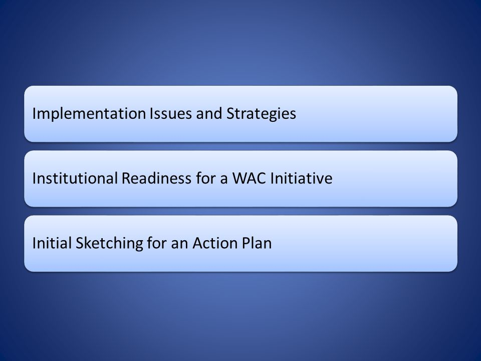 Implementation Issues and StrategiesInstitutional Readiness for a WAC Initiative Initial Sketching for an Action Plan