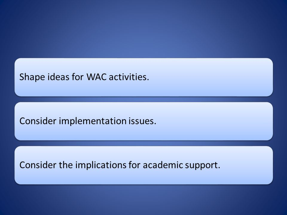 Shape ideas for WAC activities.Consider implementation issues.Consider the implications for academic support.