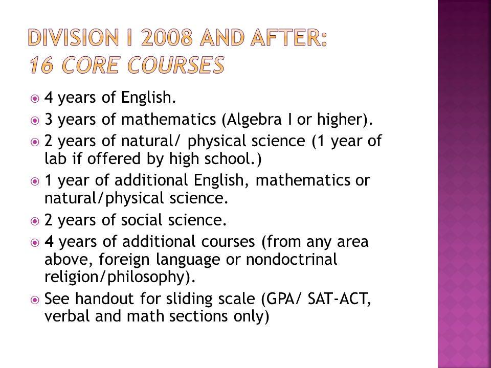  4 years of English.  3 years of mathematics (Algebra I or higher).