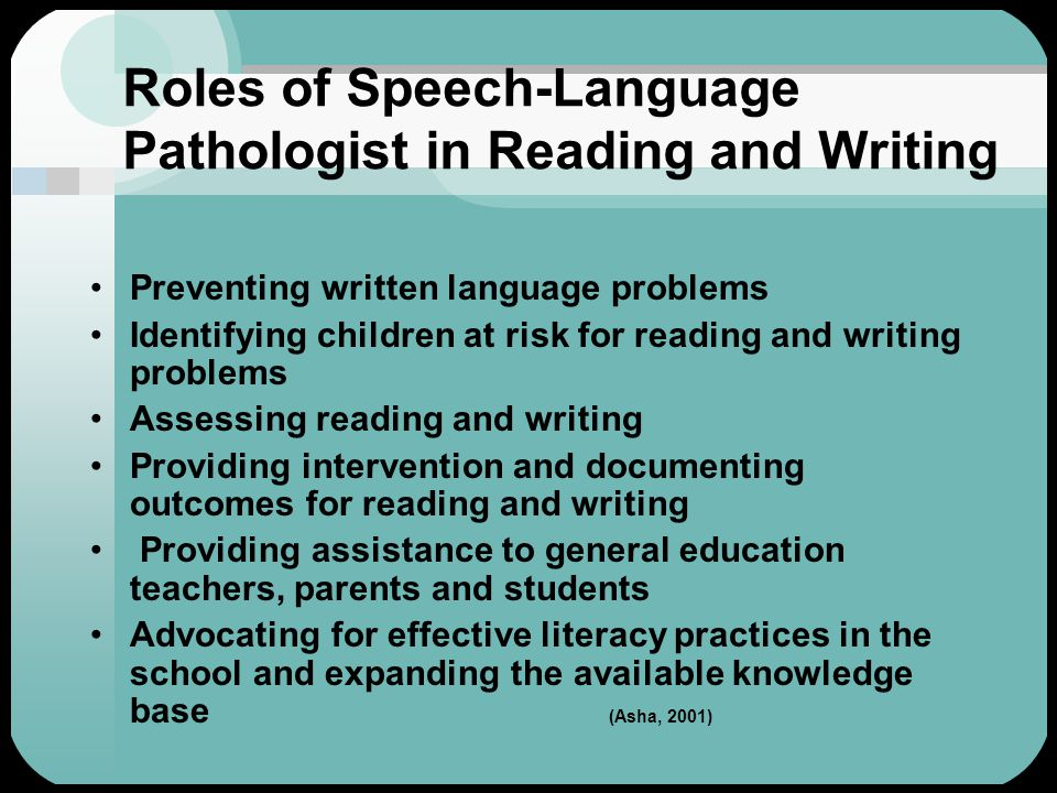 Roles of Speech-Language Pathologist in Reading and Writing Preventing written language problems Identifying children at risk for reading and writing problems Assessing reading and writing Providing intervention and documenting outcomes for reading and writing Providing assistance to general education teachers, parents and students Advocating for effective literacy practices in the school and expanding the available knowledge base (Asha, 2001)