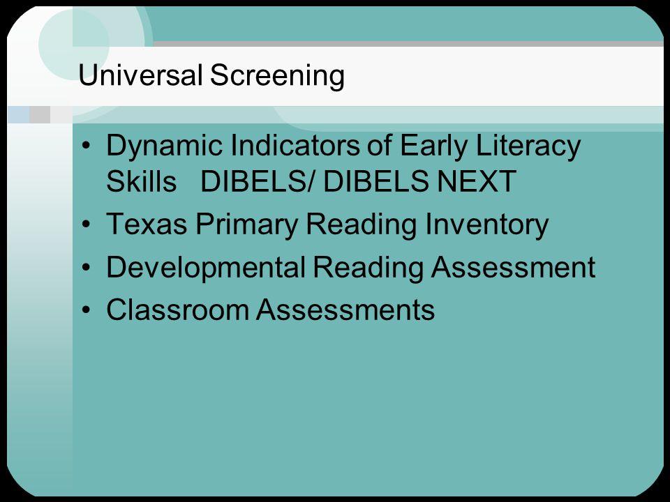 Universal Screening Dynamic Indicators of Early Literacy Skills DIBELS/ DIBELS NEXT Texas Primary Reading Inventory Developmental Reading Assessment Classroom Assessments