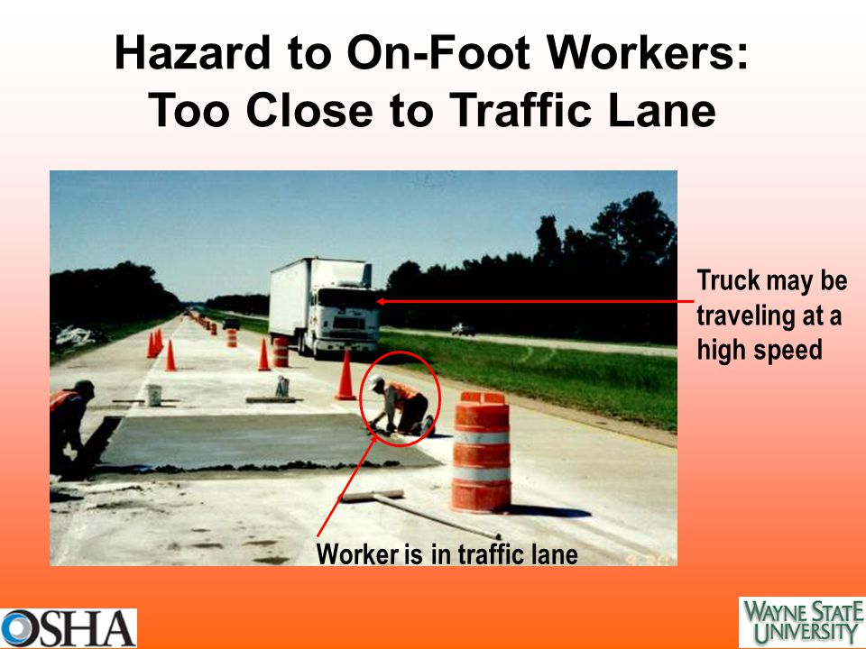 Truck may be traveling at a high speed Worker is in traffic lane Hazard to On-Foot Workers: Too Close to Traffic Lane