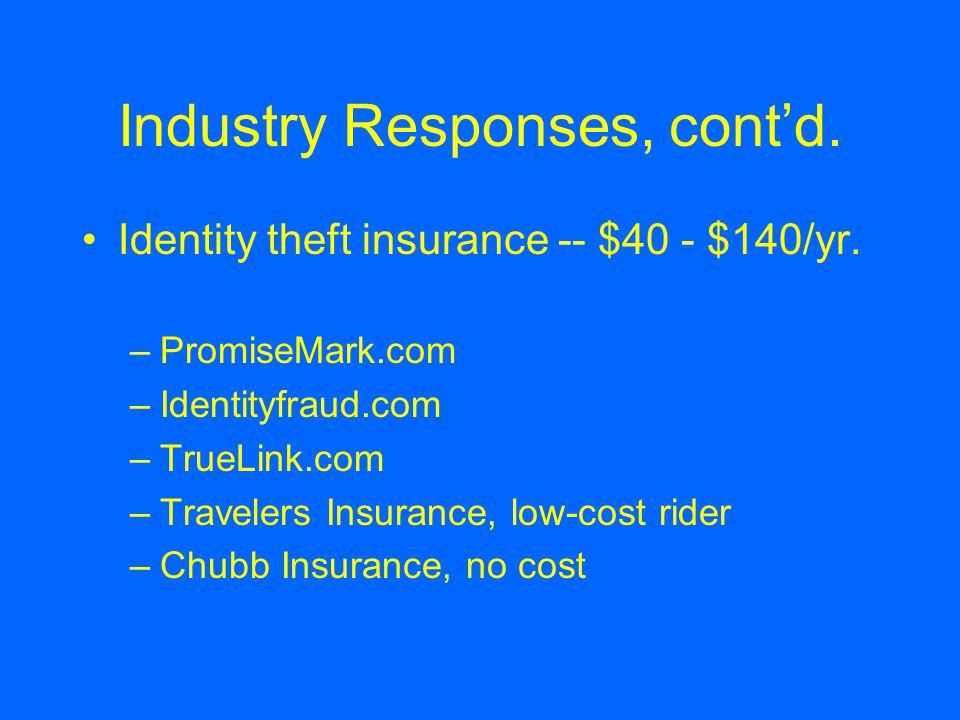 Industry Responses, cont'd. Identity theft insurance -- $40 - $140/yr. –PromiseMark.com –Identityfraud.com –TrueLink.com –Travelers Insurance, low-cos