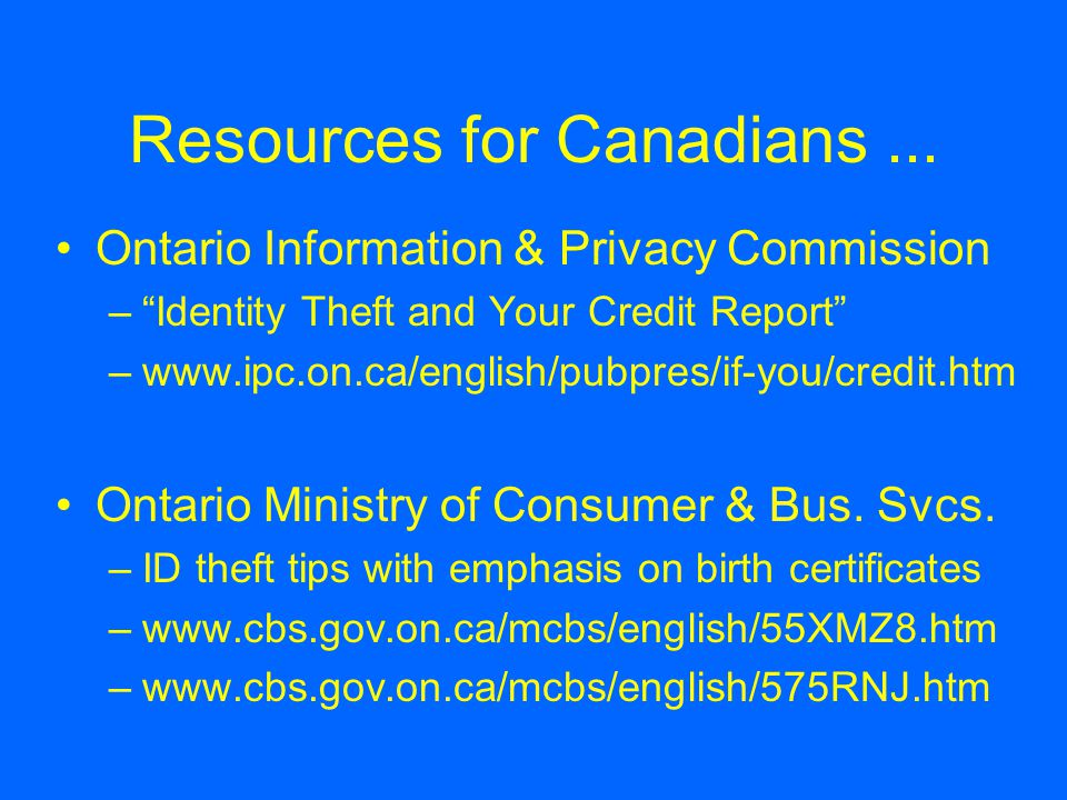 Resources for Canadians...
