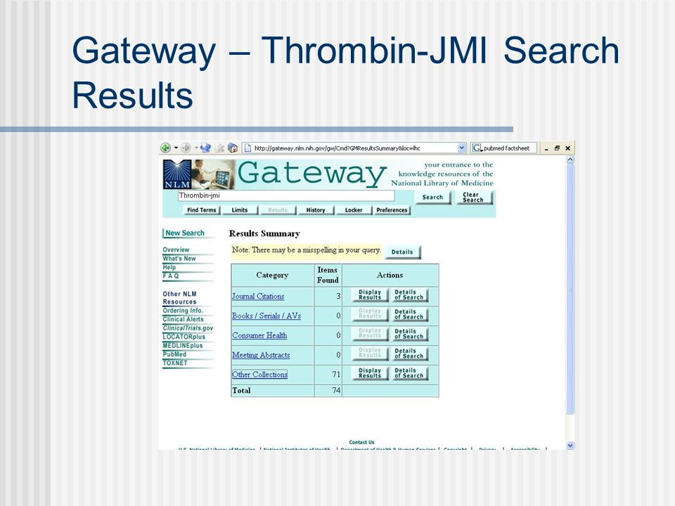 Gateway – Thrombin-JMI Search Results