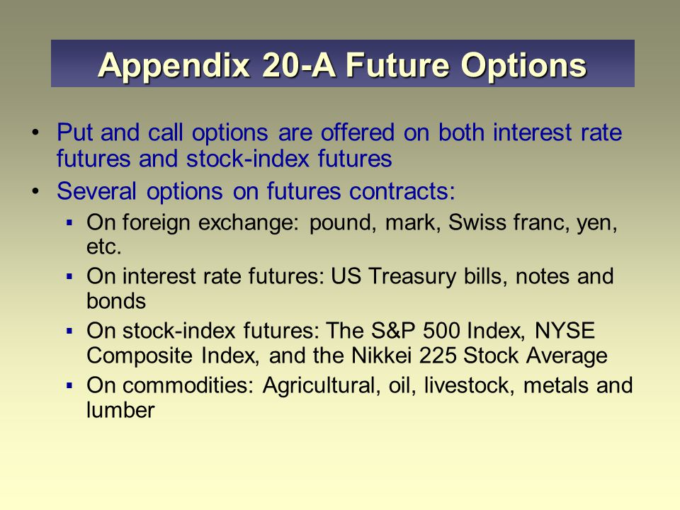 Appendix 20-A Future Options Put and call options are offered on both interest rate futures and stock-index futures Several options on futures contracts:  On foreign exchange: pound, mark, Swiss franc, yen, etc.
