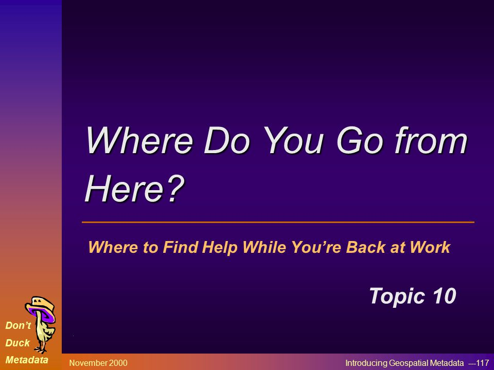 Don't Duck Metadata November 2000 Introducing Geospatial Metadata ---117 Where to Find Help While You're Back at Work Topic 10 Where Do You Go from Here?